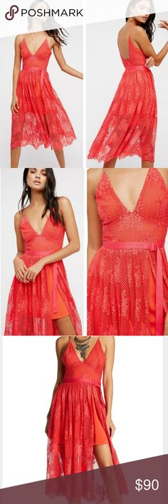 8603076bbfe NWT Free People Matchpoint Lace Midi Dress New with tags. Color is  watermelon. Charming