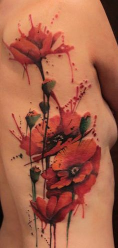 Red Watercolor Poppies Tattoo - Side Full Length