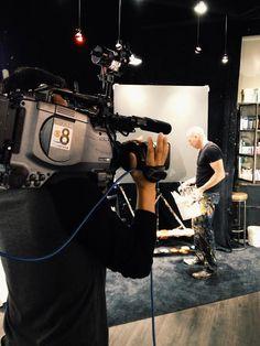 The @news8 news crew filming our resident artist Stephen Fishwick. #art #escondido