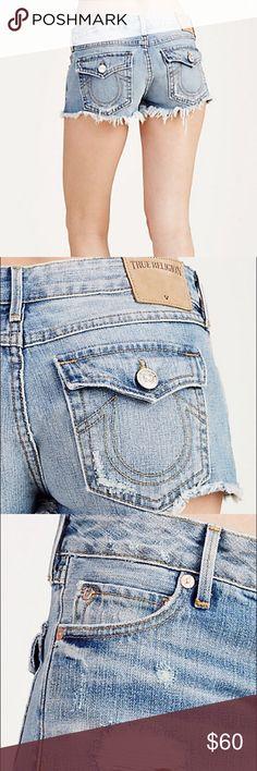 "TRUE RELIGION - Cut-Off Shorts - Sz. 25 Excellent condition. Worn only once. Size 25. Women's denim short Low rise 2"" inseam Zip fly 100% cotton True Religion Shorts Jean Shorts"