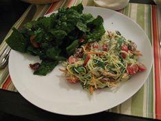 Raw Zucchini Alfredo With Basil and Cherry Tomatoes - Looks good!