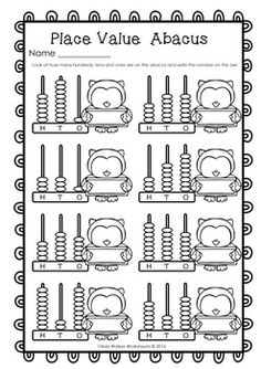 abacus place value hundreds tens and ones worksheets printables my worksheets and clip. Black Bedroom Furniture Sets. Home Design Ideas