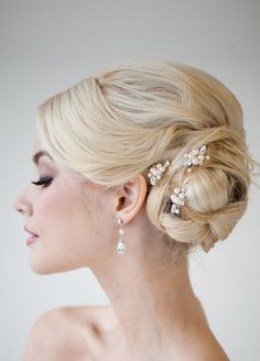 Dress up a side chignon with crystal and pearl accents. Wedding Hairstyles, Bridal Beauty, Bridal Hairstyles