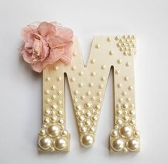 Decorative Wooden Letter for Baby Shower, Bridal Shower, or Nursery ~ 6 inch ~ Personalized with Assorted Pearls and Vintage Flower Detail - DIY Home Project Hanging Letters On Wall, Diy Letters, Letter A Crafts, Nursery Letters, Decorative Letters For Wall, Pearl Letters, Letter Wall, Letters In Frames, Button Letters