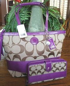 NWT COACH SIGNATURE STRIPE KHAKI PURPLE TOTE PURSE 19046 WITH WALLET47718 SET - more → http://sylviafashionstylinglife.blogspot.com/2012/06/nwt-coach-signature-stripe-khaki-purple.html