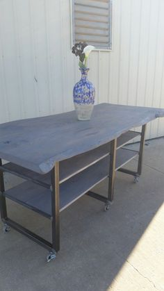 Live Edge Oak Slab Cooking Table/ Kitchen Island kitchen island oak oak slabs dining table metal legs shelves table wood table hardwood cooking table kitchen table seating furniture