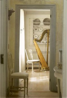 The Enchanted Home: antiqued woods- the sound of a harp!