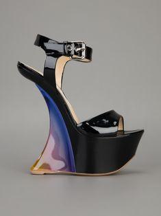Hott.... but how the hell do you walk in it?!?!?! #GIANMARCO LORENZI platform wedge sandal