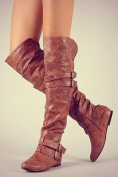 These brown leather over the knee high riding boots are adorable! I love the buckles and the slouch rugged look on the flat heel. Wear these with shorts, blue jeans, pants, skirt or dress in fall, winter, and spring 2013 - 2014 ♥ Get this look at @SPARKTREND for $40, click the image to see! #boots #shoes #fashion