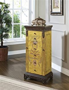 Powell Furniture - Masterpiece Jewelry Armoire in Antique Parchment Finish
