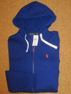 RALPH  LAUREN POLO  MEN'S  HOODIE  JACKET  FULL ZIP SMALL ROYAL BLUE  NEW #PoloRalphLauren #Hoodie