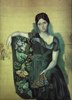 It's About Time: The Evolution of Pablo Picasso's Portraits of Women  1917 Pablo Picasso (Spanish artist, 1881–1973) Portrait of his wife Olga in Armchair.  Check out this wonderful blog!