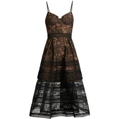 Self-portrait Paisley lace midi dress ($475) ❤ liked on Polyvore featuring dresses, black, sheer cocktail dress, lace midi dress, see-through dresses, circle skirt and mid calf dresses