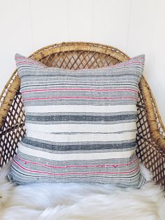 Pink Cream and Black Striped H'mong Tribe Hemp Decorative Pillow- Filled