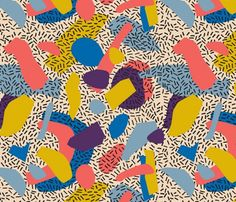 Oct 2015 - For Memphis inspired fabrics you could check out the works of London based designer 'Season of Victory'. The fabrics are available to buy at Spoonflower here and the prints are available for licensing. 90s Pattern, Pattern Art, Abstract Pattern, Vintage Pattern Design, Pattern Fabric, Textile Patterns, Print Patterns, Stoff Design, Memphis Pattern