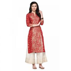 Buy Red Rayon Kurti with Front & Side Slit for womens online India, Best Prices, Reviews - Peachmode