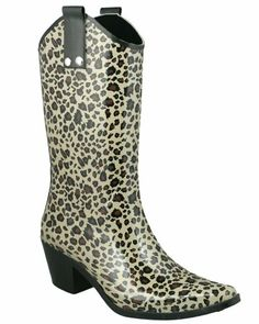 Amazon.com  Capelli New York Shiny Baby Leopard Cowboy Ladies Rubber Rain  Boot Black 7acd7a971