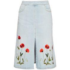Stella McCartney Janelle embroidered denim skirt (€445) ❤ liked on Polyvore featuring skirts, denim, blue, blue denim skirt, embroidered skirt, denim skirt, stella mccartney skirt and blue skirt