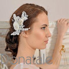 Novia de pelo pedazo de novia casco nupcial por DonataleFlowers4You
