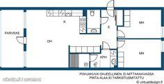 Läpitalon kolmio parvekkeella ja saunalla (80m2) # pohjapiirros Floor Plans, House, Haus, Homes, Floor Plan Drawing, Houses, House Floor Plans