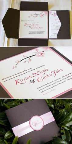 Pink, Brown and Love all around! A custom invitation suite we created for my guitar player, Carlos and his now wife, Kirsten for their Cherry Blossom inspired wedding in April 2011