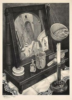 M.C. Escher still life drawing