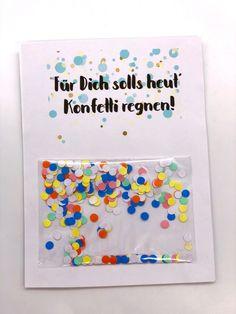 DIY Geschenke Karten zum Geburtstag selbst gestalten mit Konfetti Version 1