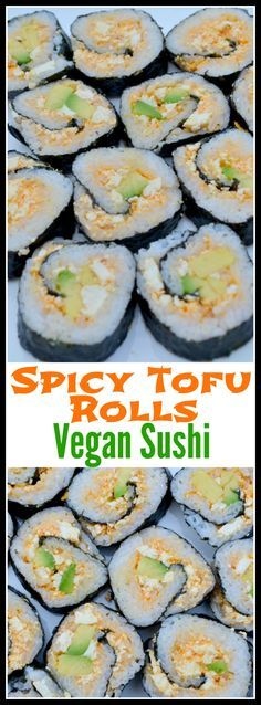 Spicy Tofu Rolls: Vegan Sushi Recipe – Miss Frugal Mommy Healthy Food Recipes, Tofu Recipes, Vegan Foods, Vegan Dishes, Whole Food Recipes, Cooking Recipes, Cooked Sushi Recipes, Noodle Recipes, Cycling Diet