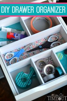 Add a pop of color and organization to those messy drawers with this DIY Drawer Organizer! | MomOnTimeout.com #ScotchEXP #sponsored