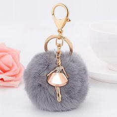Brief fashion 8cm rabbit fur ball girl keychain fur pom pom keychain porte clef pompom de fourrure bags pendant charm //Price: $US $4.99 & FREE Shipping //     #hashtag4
