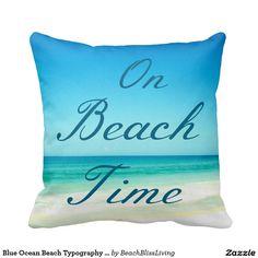 Blue Ocean Beach Typography Pillow
