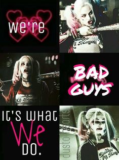 """Harley Quinn- """"We're bad guys, it's what we do. Harley And Joker Love, Joker Y Harley Quinn, Arlequina Margot Robbie, Margot Robbie Harley Quinn, Costume Catwoman, Joker Cosplay, Harly Quinn Quotes, Estilo Bad Boy, Poison Ivy Comic"""