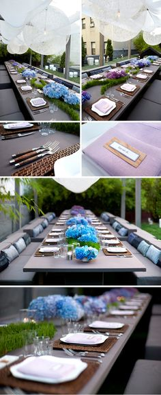 A Summer Rooftop Soiree in NYC, Design by Frank Alexander Wedding Venue Decorations, Wedding Themes, Flower Decorations, Wedding Colors, Rooftop Party, Rooftop Garden, Blue And Purple Flowers, Party Entertainment, Event Styling