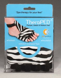 Pamper  stretch & refresh feet * Soothing hot & cold therapy to refresh & revitalize * Therma gel delivers soothing relief to cramped  achy feet & spacers realign cramped toes * Fits left or right foot *TheraPED  Pk/2 $21.85