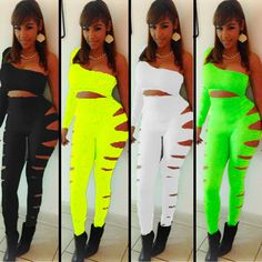 2014 novelty neon ladies jumpsuits bodysuit clothing set bandage sexy white black bodycon club one piece tight jumpsuit leggings-in Jumpsuits & Rompers from Apparel & Accessories on Aliexpress.com | Alibaba Group