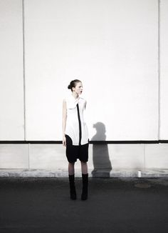 Blouse from Elin Kling's and Nhu Duong's brand Nowhere. Cashmere shorts are from Rick Owens f/w 2011 and shoes from Rick Owens f/w 2010.