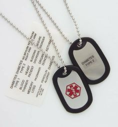 """Medical Alert ID Adult Dog Tag Necklace with Condition Decals by Fashion Alert. $15.97. Stainless Dog Tag. 24"""" Stainless Ball Chain. Includes Water Proof Stickers. Adult Dog Tag Necklace. Included is (adjustable) 24"""" Chain.(chain is not sterling or stainless) Stainless steel tag with black rubber on the outside for noise reduction. Medical symbol on the front side. 15 Coated Condition stickers (use the sticker(s) for your condition) included to adhere to the b..."""