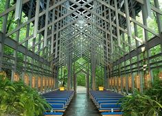 ARKANSAS: THORNCROWN CHAPEL  Nestled in the heart of the Ozarks, this chapel—fitted with 6,000 square feet of glass and designed by Frank Lloyd Wright apprentice E. Fay Jones—is a woodland sanctuary. (It's also air-conditioned.)