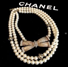 100% Authentic CHANEL Pearl Necklace With Bow BRAND NEW France  #Chanel #PearlNecklacewithBow