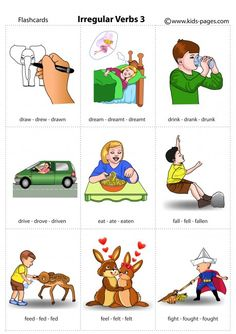 Irregular Verbs 3 flashcard Learning English For Kids, English Teaching Materials, English Lessons For Kids, Kids English, English Language Learning, Teaching English, English Prepositions, English Vocabulary, Vocabulary Cards