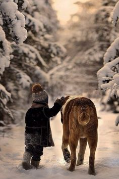 snow & a furry pal