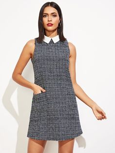 Classy and Elegant and Preppy Shift Straight Collar Sleeveless Natural Black and White Short Length Contrast Collar Keyhole Back Sleeveless Tweed Dress Simple Dresses, Cute Dresses, Casual Dresses, Dresses For Work, Cozy Fashion, 90s Fashion, Fashion Outfits, New Look Skirts, Dress Indian Style