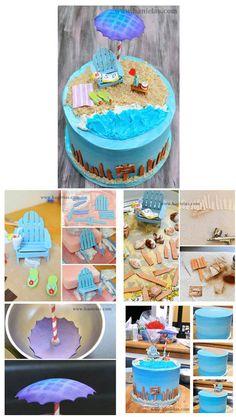 Fondant Cake Tutorial, Fondant Cakes, Cupcake Cakes, Cupcakes, Beach Themed Cakes, Beach Cakes, Spring Cake, Summer Cakes, Cake Decorating Techniques