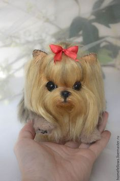 Needle felted Yorkie with Real Yorkie hair. Cute Little Animals, Cute Funny Animals, Cute Cats, Chinese Dog, Cute Baby Bunnies, Grey Kitten, Felt Dogs, Teacup Puppies, Yorkie Puppy