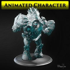 ice golem 3d model low-poly rigged animated fbx tga 1
