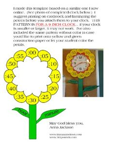 """Decorate a 9 inch clock to make it look like a flower. Each petal states the minutes then a stem with a short leaf marked """"hour"""" and a long leaf m. Teaching Time, Teaching Tools, Teaching Math, 1st Grade Math, Kindergarten Math, Second Grade, Math Resources, Math Activities, Early Years Maths"""