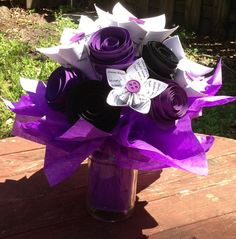 Bouquet/Gift/Table Centerpiece - 15 flowers - 6 Alicia Keys Song Lyric Paper Flower Lilies & 9 Purple and Black Roses with Tissue in Mason/Glass Jars  Bouquet/Gift/Table Centerpiece for Weddings, Rehearsals, Engagement Pics, Birthdays, Anniversaries, Baby/Bridal Shower Gifts and Decor, etc.   www.QtsyThings.Etsy.com