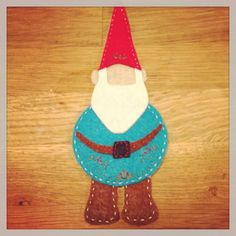 Felt gnome ornament for diy kids felt christmas tree