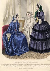 - fit the bodice snugly ,extend past the waistline  - The skirts are full   -Both women have pagoda style sleeves with detachable lace undersleeves.   - day caps tied under the chin with ribbons.