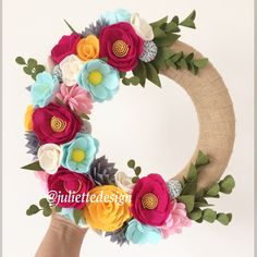 Easter Wreath, Spring Wreath, Year Round Wreath, Felt Flowers Wreath, Pink Flower Wreath, Summer Wreath by juliettesdesigntr on Etsy https://www.etsy.com/listing/588123301/easter-wreath-spring-wreath-year-round